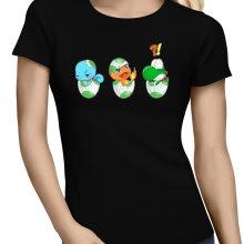 T-shirts Femmes  parodique Bébé Yoshi face à Salamèche et Carapuce : Bizarre ces deux là !! (Parodie )