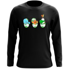 T-Shirts à manches longues  parodique Bébé Yoshi face à Salamèche et Carapuce : Bizarre ces deux là !! (Parodie )