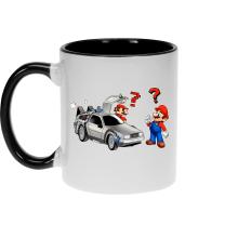 Mugs  parodique Mario 3D, Mario Pixel et la Delorean : De retour Vers le Futur... (Parodie )