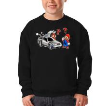Sweat-shirts  parodique Mario 3D, Mario Pixel et la Delorean : De retour Vers le Futur... (Parodie )