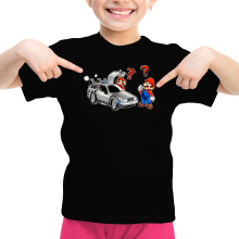 T-shirts  parodique Mario 3D, Mario Pixel et la Delorean : De retour Vers le Futur... (Parodie )