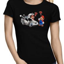 T-shirts Femmes  parodique Mario 3D, Mario Pixel et la Delorean : De retour Vers le Futur... (Parodie )