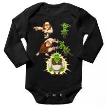 Funny  Long sleeve Baby Bodysuit - Giant, Gobelins and Shrek ( Parody) (Ref:894)