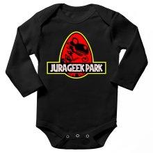 Body bébé manches longues  parodique Yoshi et Jurassic Park : Jurageek Park ! (Parodie )