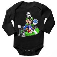 Body bébé manches longues  parodique Luigi : Kart Fighter - Player 2 (Parodie )