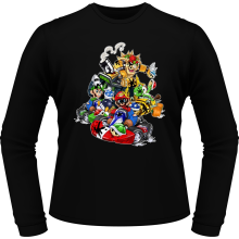 T-Shirts à manches longues  parodique Mario, Luigi, Yoshi et Bowser : Kart Fighter Racing (Parodie )