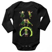Body bébé manches longues  parodique Link, Peter Pan et Legolas : La naissance du Chevalier parfait... FUSION ! YAHAAAA ! (Parodie )
