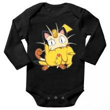 Body bébé manches longues  parodique Pikachu et Miaouss : Le jeu du Chat et la Souris :) (Parodie )