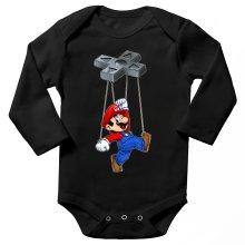 Body bébé manches longues  parodique Mario : Mario-nette ON (Parodie )