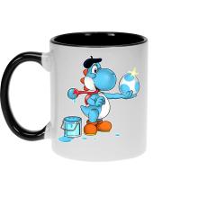 Mugs  parodique Yoshi bleu clair : Peinture fraîche... (Version bleue claire) (Parodie )
