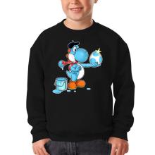 Sweat-shirts  parodique Yoshi bleu clair : Peinture fraîche... (Version bleue claire) (Parodie )