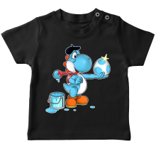 T-shirts  parodique Yoshi bleu clair : Peinture fraîche... (Version bleue claire) (Parodie )