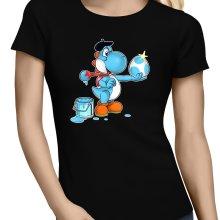 T-shirts Femmes  parodique Yoshi bleu clair : Peinture fraîche... (Version bleue claire) (Parodie )