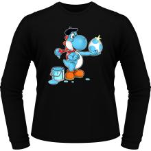 T-Shirts à manches longues  parodique Yoshi bleu clair : Peinture fraîche... (Version bleue claire) (Parodie )