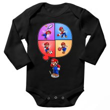 Funny  Long sleeve Baby Bodysuit - Mario and Wii Fit ( Parody) (Ref:783)