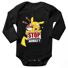 Body bébé manches longues  parodique Pikachu : Stop à la Maltraitance animale !! (Parodie )