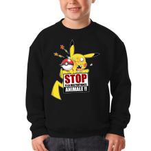 Sweat-shirts  parodique Pikachu : Stop à la Maltraitance animale !! (Parodie )