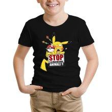 T-shirts  parodique Pikachu : Stop à la Maltraitance animale !! (Parodie )