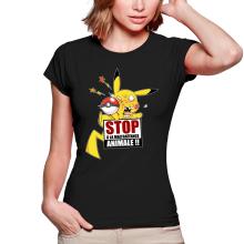 T-shirts Femmes  parodique Pikachu : Stop à la Maltraitance animale !! (Parodie )