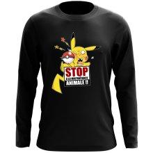 T-Shirt à manches longues  parodique Pikachu : Stop à la Maltraitance animale !! (Parodie )