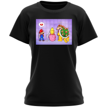 T-shirts Femmes (French Days)  parodique Super Mario, Princesse Peach et Bowser : Un coeur brisé ! (Parodie )