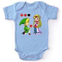 Body bébé  parodique Link et la Princesse Zelda : Un héros offrant son coeur à sa belle princesse... (Parodie )