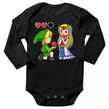 Body bébé manches longues  parodique Link et la Princesse Zelda : Un héros offrant son coeur à sa belle princesse... (Parodie )