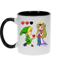 Mug  parodique Link et la Princesse Zelda : Un héros offrant son coeur à sa belle princesse... (Parodie )