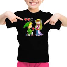 T-shirt Enfant Fille  parodique Link et la Princesse Zelda : Un héros offrant son coeur à sa belle princesse... (Parodie )