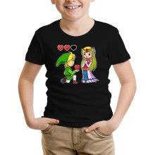 T-shirt Enfant  parodique Link et la Princesse Zelda : Un héros offrant son coeur à sa belle princesse... (Parodie )