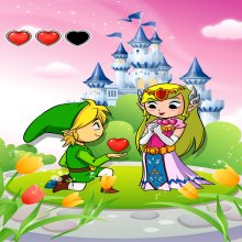 Affiche / Poster Géant HD (122 x 91 cm)  parodique Link et la Princesse Zelda : Un héros offrant son coeur à sa belle princesse... (Parodie )