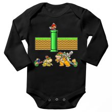 Funny  Long sleeve Baby Bodysuit - Mario, Bowser, Bowser Jr and Koopa Troopa ( Parody) (Ref:469)