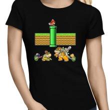 T-shirts Femmes  parodique Mario, Bowser, Bowser Jr et Koopa Troopa : Un mauvais tuyau... (Parodie )