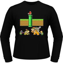 T-Shirts à manches longues  parodique Mario, Bowser, Bowser Jr et Koopa Troopa : Un mauvais tuyau... (Parodie )