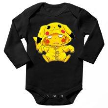 Body bébé manches longues  parodique Pikachu : Une drôle de tronche :) (Parodie )