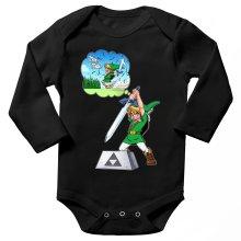 Body bébé manches longues  parodique Link et Excalibur : Une épée bien mal exploitée... ^^ (Parodie )