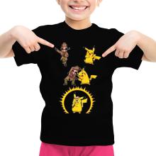 T-shirt Enfant Fille  parodique Pikachu et Sherlock Holmes aka Détective Pikachu : Une Fusion élémentaire... :) (Parodie )