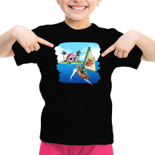 T-shirt Enfant Fille  parodique La Kame House et Link : Une île perdue... (Parodie )