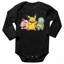 Body bébé manches longues  parodique Bob, Carlo et Patrick cosplayés en Pikachu, Carapuce et Rondoudou : Une troupe de joyeux Cosplayers :) (Parodie )