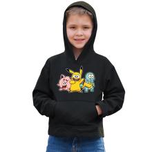 Sweat à capuche Enfant  parodique Bob, Carlo et Patrick cosplayés en Pikachu, Carapuce et Rondoudou : Une troupe de joyeux Cosplayers :) (Parodie )
