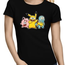T-shirts Femmes  parodique Bob, Carlo et Patrick cosplayés en Pikachu, Carapuce et Rondoudou : Une troupe de joyeux Cosplayers :) (Parodie )