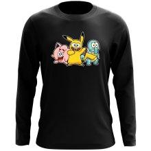 T-Shirt à manches longues  parodique Bob, Carlo et Patrick cosplayés en Pikachu, Carapuce et Rondoudou : Une troupe de joyeux Cosplayers :) (Parodie )