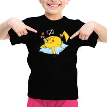T-shirt Enfant Fille  parodique Pikachu : Batterie déchargée :) (Parodie )
