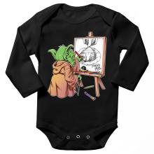 Body bébé manches longues  parodique Eiichiro Yoda dessinant Luffy... à l