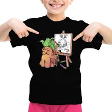 T-shirt Enfant Fille  parodique Eiichiro Yoda dessinant Luffy... à l