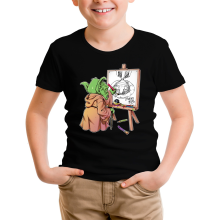 T-shirt Enfant  parodique Eiichiro Yoda dessinant Luffy... à l