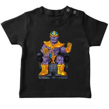 T-shirt bébé  parodique Thanos de Avengers et Beerus de Dragon Ball Super : Le Dieu de la destruction... et son chat ! (Parodie )