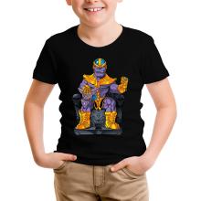 T-shirt Enfant  parodique Thanos de Avengers et Beerus de Dragon Ball Super : Le Dieu de la destruction... et son chat ! (Parodie )