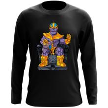 T-Shirt à manches longues  parodique Thanos de Avengers et Beerus de Dragon Ball Super : Le Dieu de la destruction... et son chat ! (Parodie )