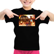 T-shirt Enfant Fille  parodique Luffy, Kaido, Eren Jager et le Titan Colossal : Un Combat Titanesque piraté... !! (Parodie )